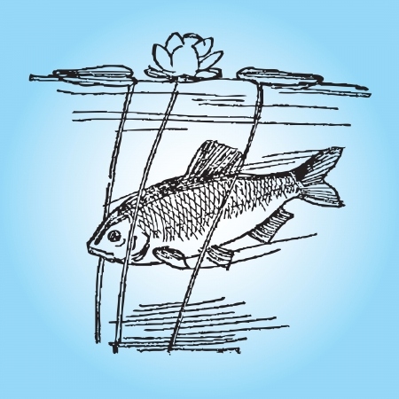 Fish in the wild with aquatic plants. illustration.