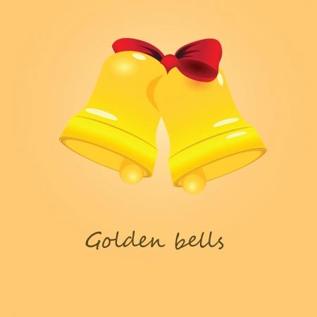 Festive golden bells related ribbons.  illustration.