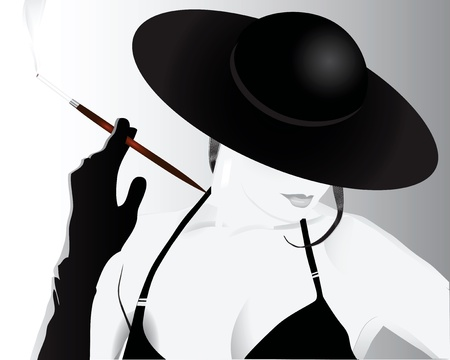 A lady in a hat smoking a cigarette.  illustration. Иллюстрация