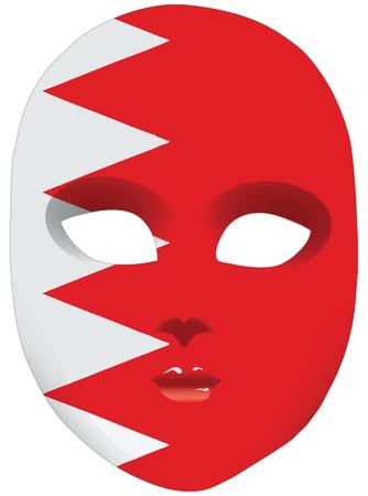 statehood: Classic mask with symbols of statehood of Bahrain. Vector illustration Illustration