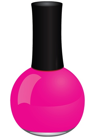 Maroon nail polish in a glass bottle. Vector illustration. 矢量图像