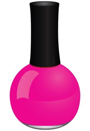 fiole: Vernis � ongles rouge fonc� dans une bouteille en verre. Vector illustration.