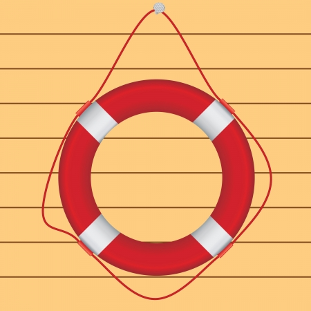 Red life preserver hanging on a nail, a wooden wall. Vector illustration. Stock Vector - 16482824