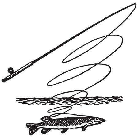luce: Symbol fishing. Pike rod. River. Vector illustration.