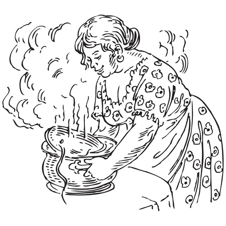 A woman with a pan. Cooking. Vector illustration. Stock fotó - 16505586