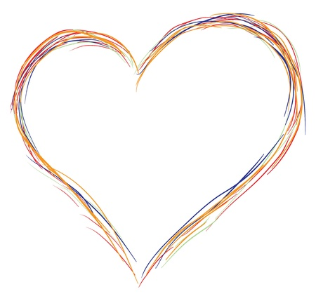 Contour of the heart symbol made up of multi-colored lines. Vector illustration. Ilustração