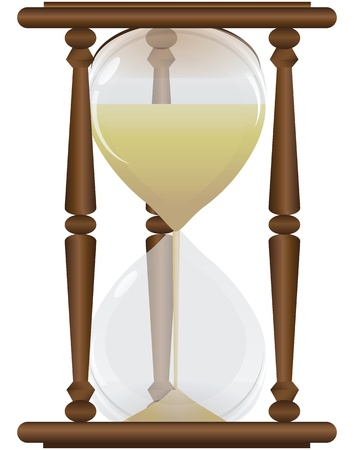 Measurement tool - hourglass with wooden frame. Vector illustration.