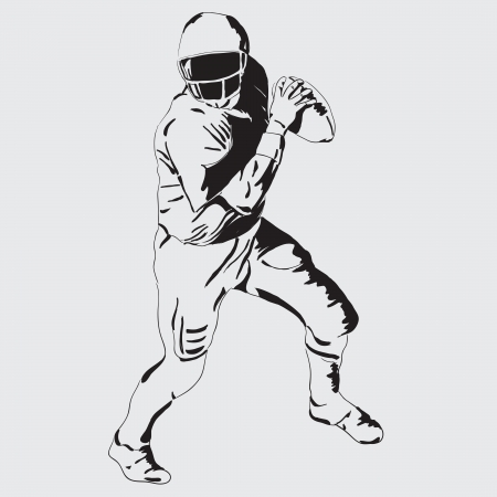 American football player with the ball. Vector drawing Ilustracja