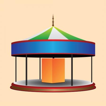 carrousel: Balagan round whirligig for children. Vector illustration. Illustration