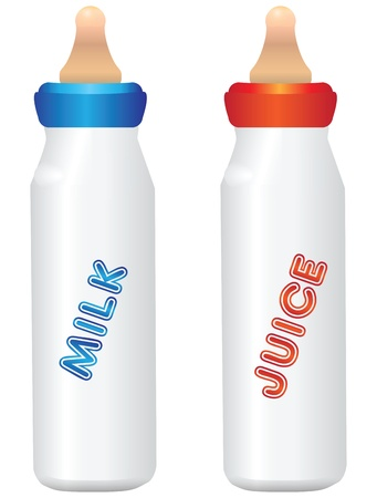 teat: Bottles with dummy for milk and juice. Baby food. Vector illustration.