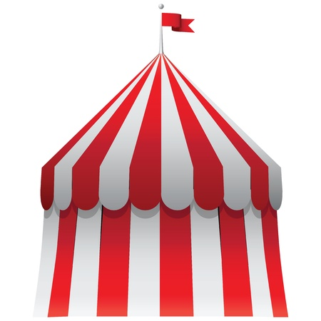 Circus awning with a red flag on the roof. Vector illustration. Stock Vector - 16554511