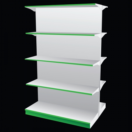 market place: Dual shelves for placing the goods. Vector illustration.