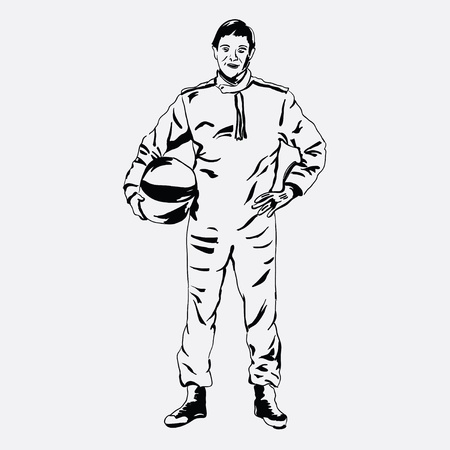 Race driver overalls and helmet in his hands. Vector illustration.