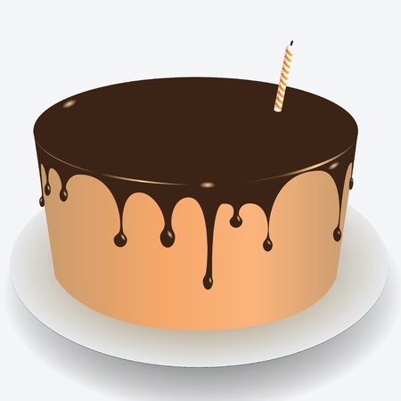 glazing: Cake with chocolate icing for the holiday. Vector illustration.