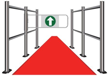 Red carpet between the commercial turnstile. Vector illustration.