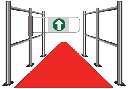 wicket gate: Red carpet between the commercial turnstile. Vector illustration.