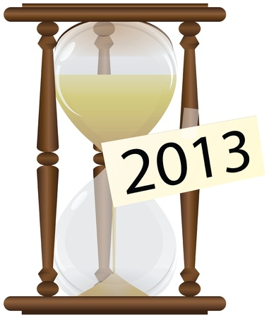 Sandglass with the label in 2013. Vector illustration.