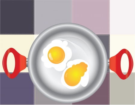 Frying pan with fried eggs on the background of the kitchen towel. Vector illustration. Stock Vector - 16601297