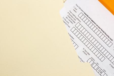 eligible: Directamente fotograf�a de arriba de un formulario de solicitud. Foto de archivo