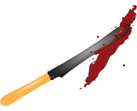 범죄 현장에서 혈액에서 골동품 칼입니다.