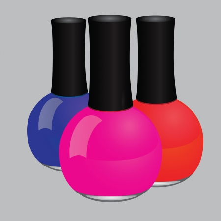phial: Maroon nail polish in a glass bottle. Illustration