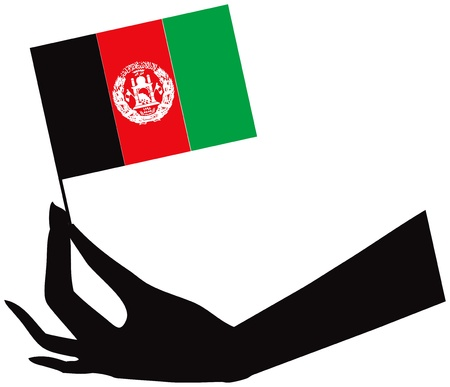 afghan flag: Afghan flag in stylized female hand.