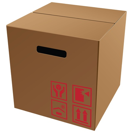 forwarding: Cardboard packaging with symbols for transport and storage.