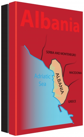 The collection of books on Albania with a map on the cover and in the colors of the national flag.  向量圖像