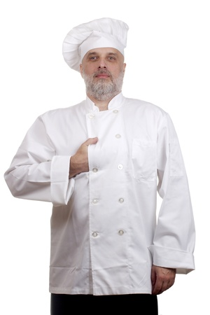 Portrait of a caucasian chef in his uniform on a white background. Stock Photo - 16694992