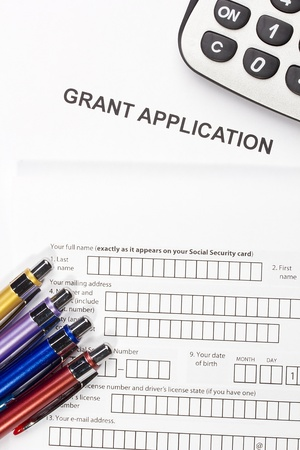 Directly above photograph of a grant application. Stock Photo - 16706373