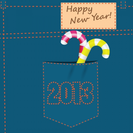 back pocket: On the back pocket of jeans embroidery 2013. Happy New Year.  Illustration