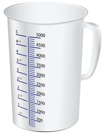 measuring scale: measuring cup to measure dry and liquid food. Vector illustration.