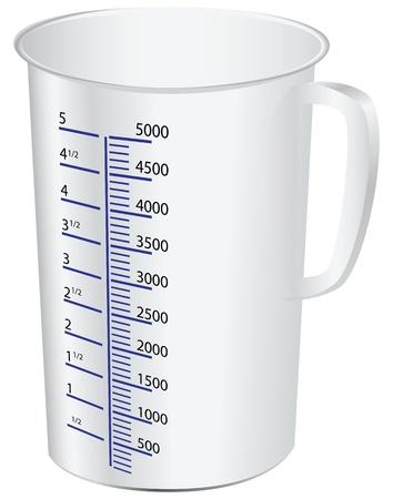 vaso de precipitado: una taza de medir para medir alimentos l�quidos y s�lidos. Vector ilustraci�n.