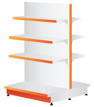 Commercial shelving for trade and office. Vector illustration.