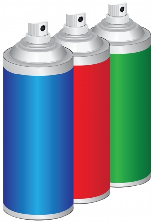 paint can: Set of sprays for household and industrial work. Vector illustration.