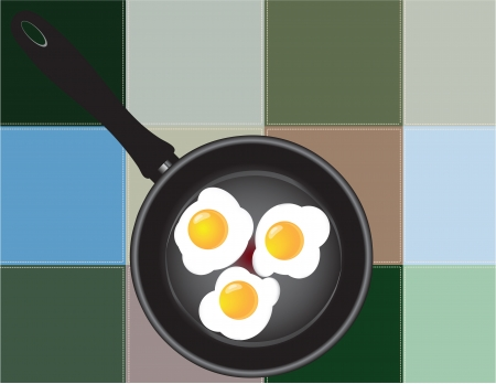 Frying pan with fried eggs on the background of the kitchen towel. Vector illustration. Иллюстрация