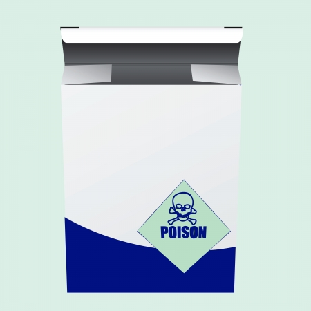 poison: Box of poison with a warning label.