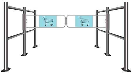 wicket gate: Turnstile to travel with shopping carts.  Illustration