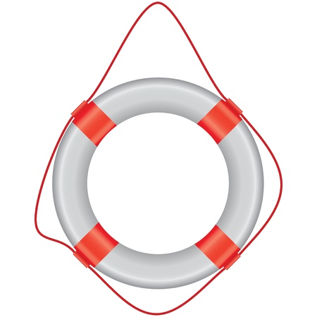 Universal instrument of salvation in the water - a lifeline. Vector Illustration