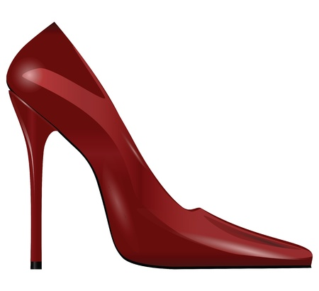 Red female shoes with high heels. Vector illustration.