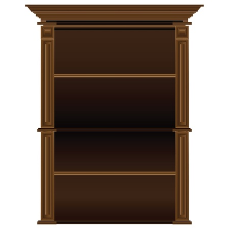antique dishes: Old antique wooden shelves for dishes and books. Vector illustration. Illustration