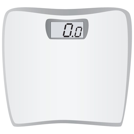 Bathrooom scales for weight of the human body. Vector illustration.