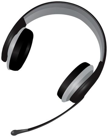 Headset telephone operator. Headphone and microphone. Vector illustration.
