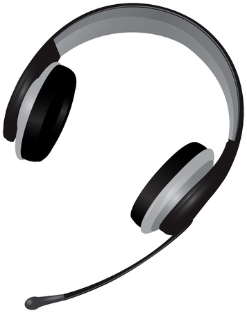 Headset telephone operator. Headphone and microphone. Vector illustration. Stock Vector - 16875322