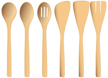 cookware: Set of wooden spoons for commercial and home kitchens. Vector illustration.