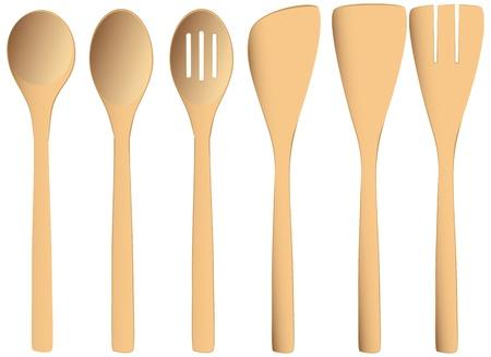 Set van houten lepels voor commerciële en huis keukens. Vector illustratie.