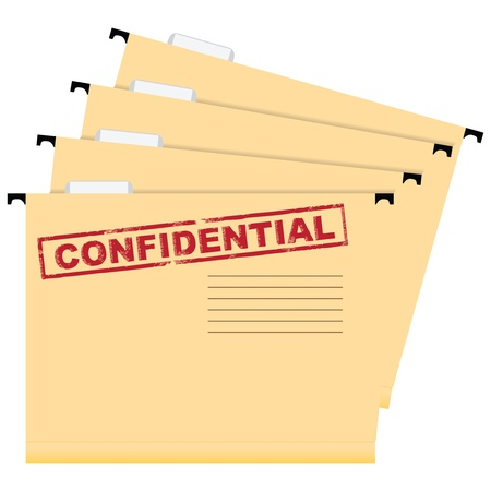 A set of folders with a stamp warning of privacy.  illustration.