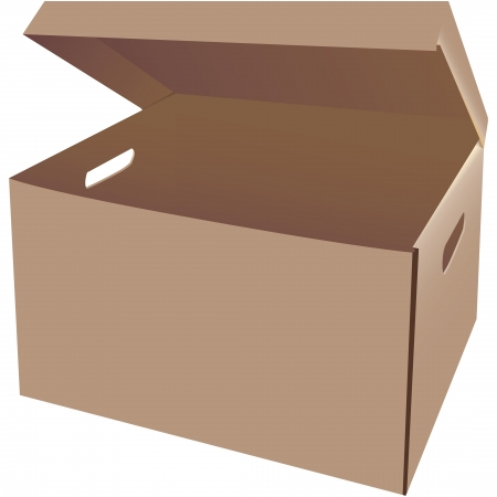 storage: Empty cardboard box for storage of office documents.  illustration. Illustration