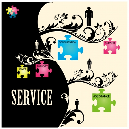 illustration of puzzles with words on the topic of service. Vector
