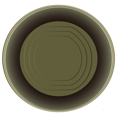 tincan: Open an empty tin can.  illustration.